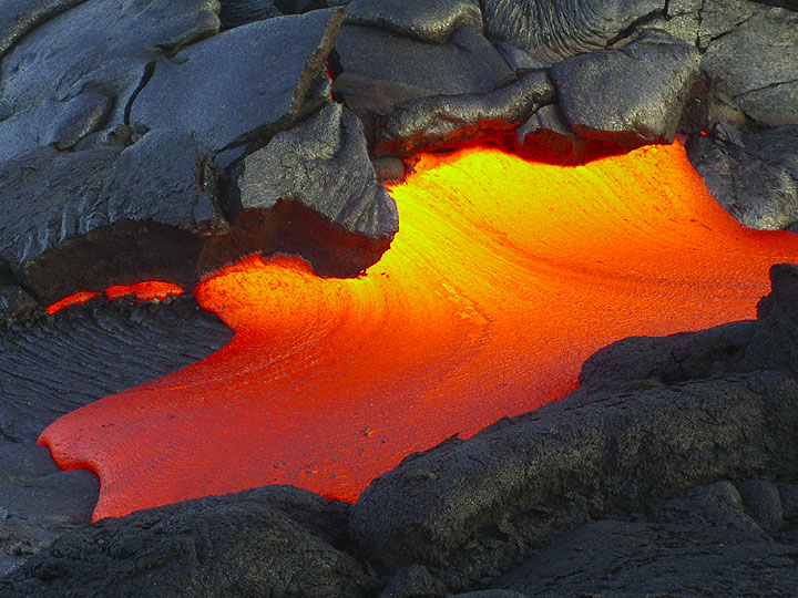 Inflated slab giving way to lava oozing out