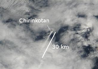 The plume of Chirinkotan volcano this morning (NASA/MODIS via Blog Culture Volcan)