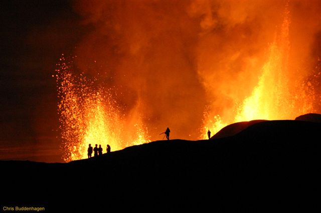 Chris Buddenhagen from the Charles Darwin Research Station, Santa Cruz, Galapagos, sent us this photo from the recent eruption of Sierra Negre volcano, taken on the evening of 27th of Oct. 2005. It shows magnificient lava fountains from the fissure vents.