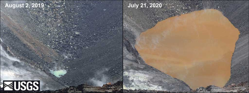 Comparison of Kilauea's summit (water) lake between 2 August 2019 and 21 July 2020 (image: HVO)