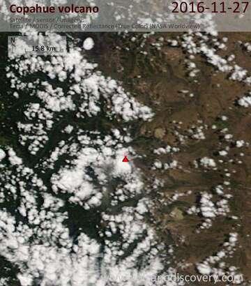 Satellite image of Copahue volcano on 27 Nov 2016