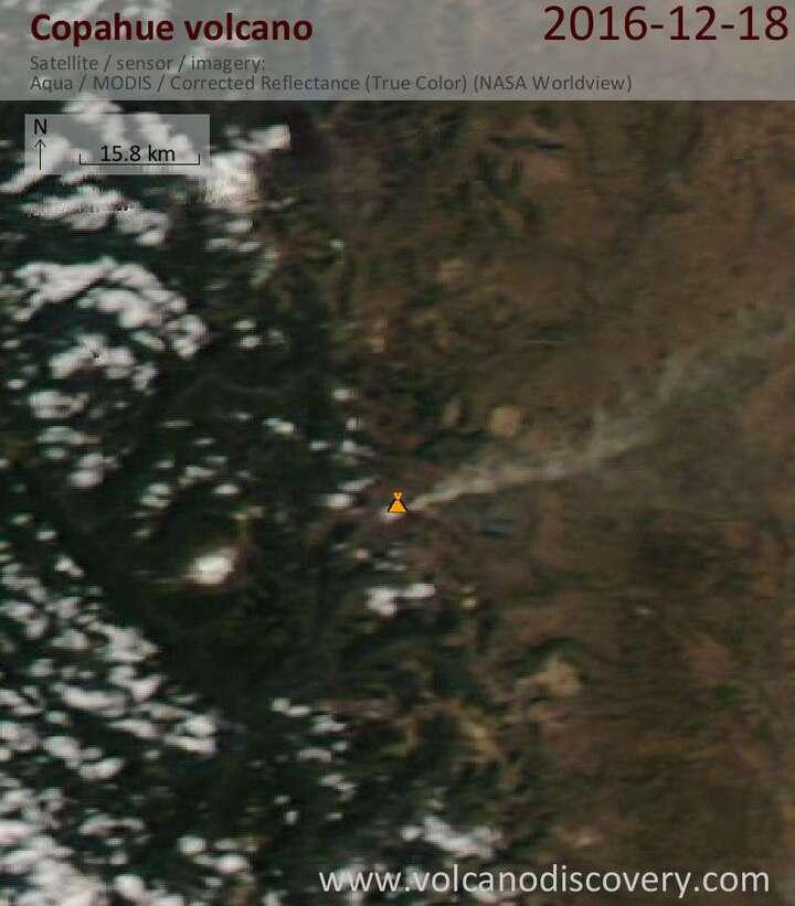 Satellite image of Copahue volcano on 19 Dec 2016