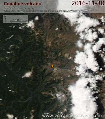 Satellite image of Copahue volcano on  1 Dec 2016