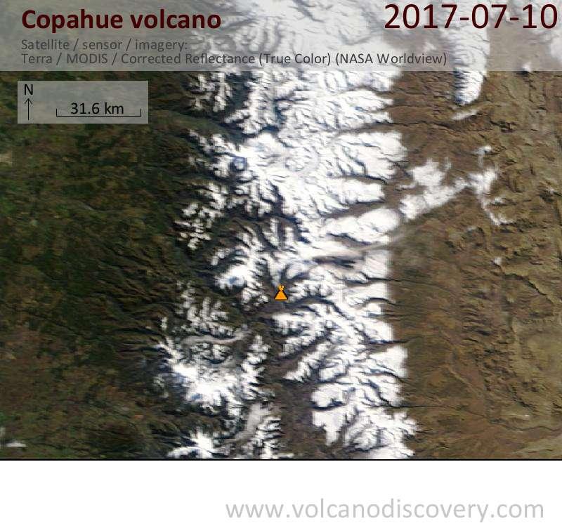 Satellite image of Copahue volcano on 10 Jul 2017
