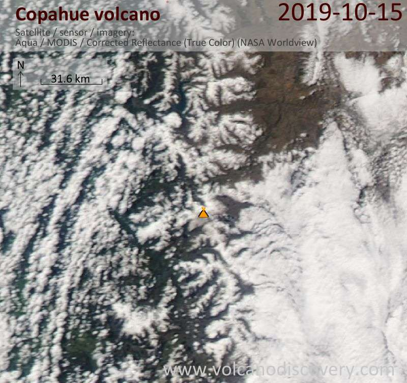 Satellite image of Copahue volcano on 16 Oct 2019