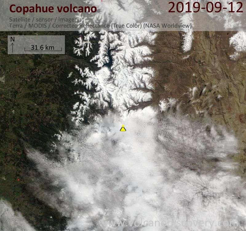 Satellite image of Copahue volcano on 12 Sep 2019