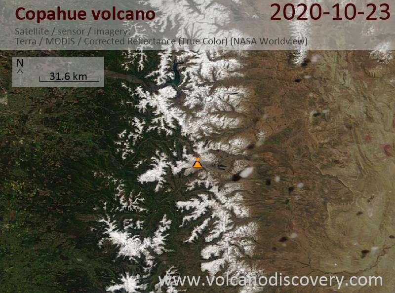 Satellite image of Copahue volcano on 23 Oct 2020