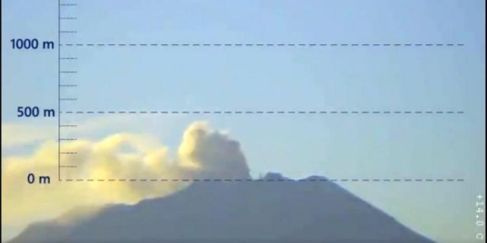 Scenic view of the minor eruption plume this morning, via IGP webcam.