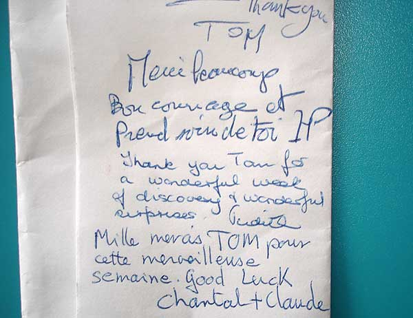 """Thank you Tom for a wonderful week of discovery & wonderful surprises! Judith."""