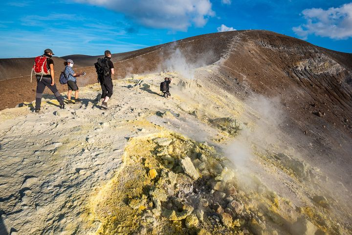 Our October 2020 group on the rim of Vulcano's crater