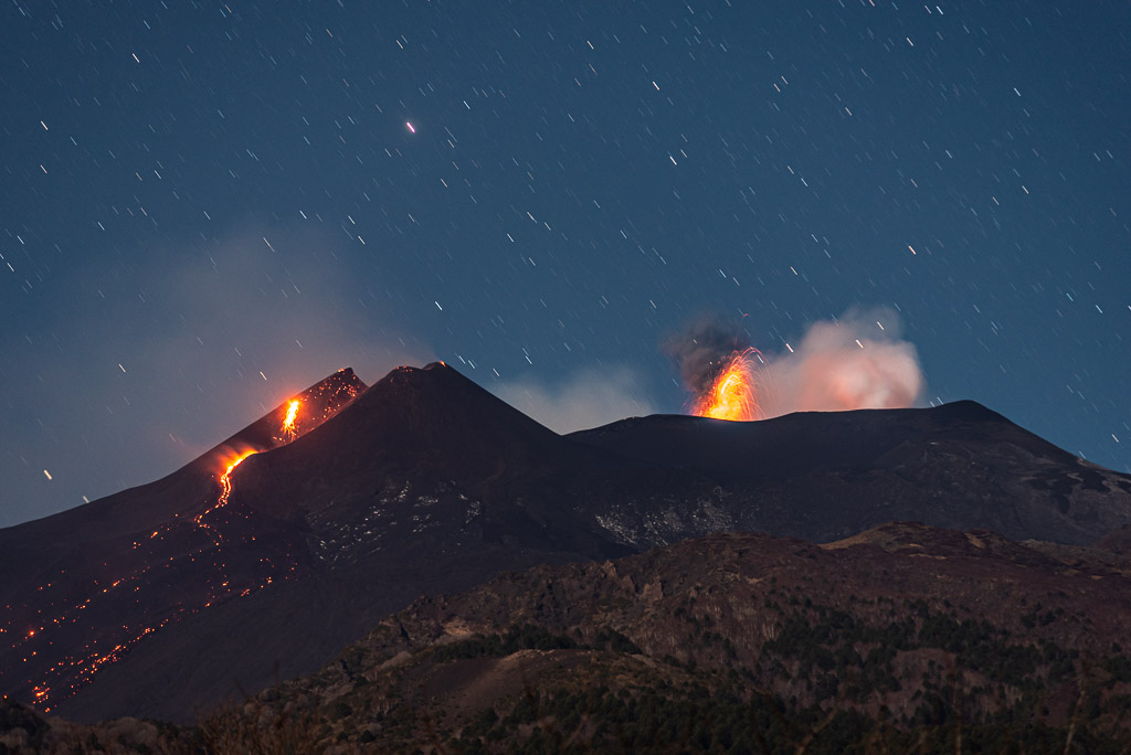 Residual lava effusion at New SE crater (l) and vigorous strombolian burst from Voragine (c) last night