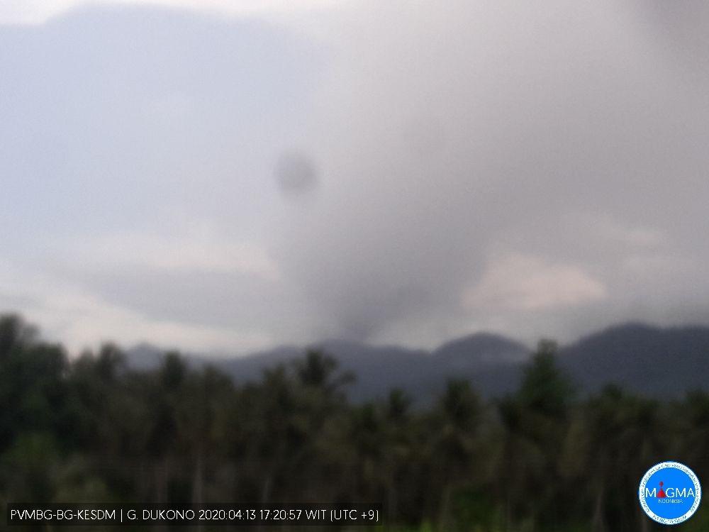 Ash plume from Dukono volcano yesterday (image: PVMBG)