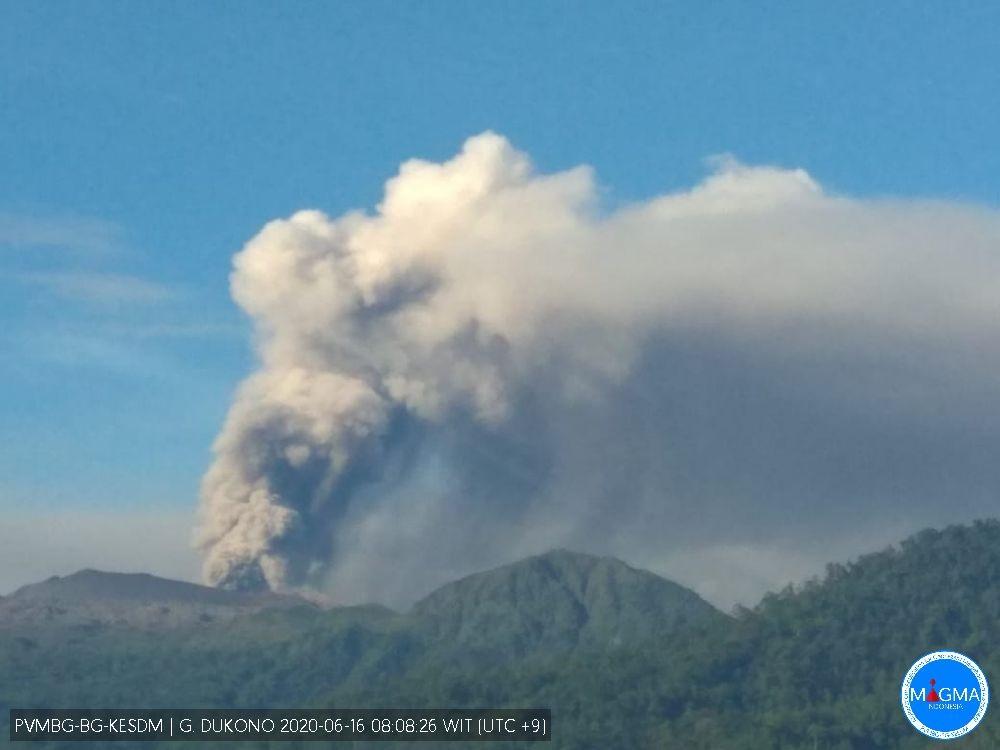 Ash emissions from Dukono volcano on 16 June (image: PVMBG)