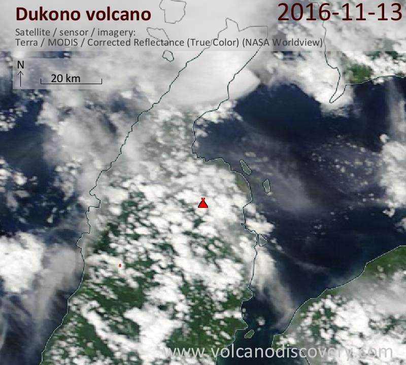 Satellite image of Dukono volcano on 13 Nov 2016