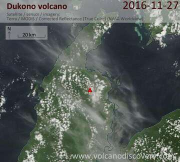 Satellite image of Dukono volcano on 27 Nov 2016