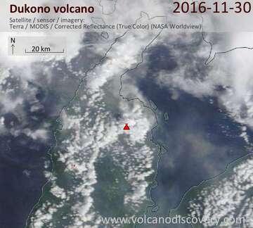 Satellite image of Dukono volcano on 30 Nov 2016