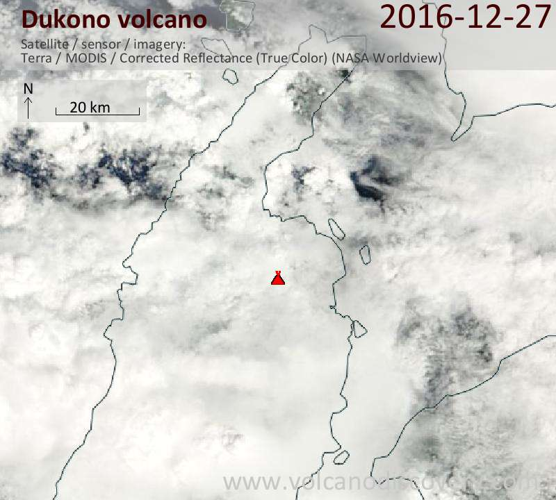 Satellite image of Dukono volcano on 27 Dec 2016