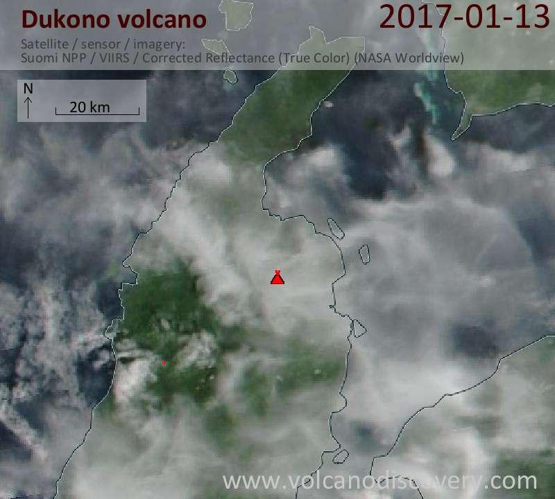 Satellite image of Dukono volcano on 13 Jan 2017