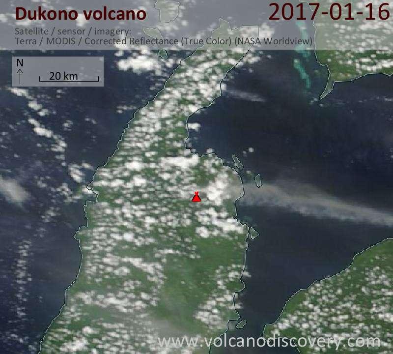 Satellite image of Dukono volcano on 16 Jan 2017