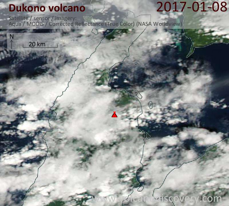 Satellite image of Dukono volcano on  8 Jan 2017