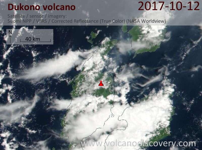 Satellite image of Dukono volcano on 12 Oct 2017