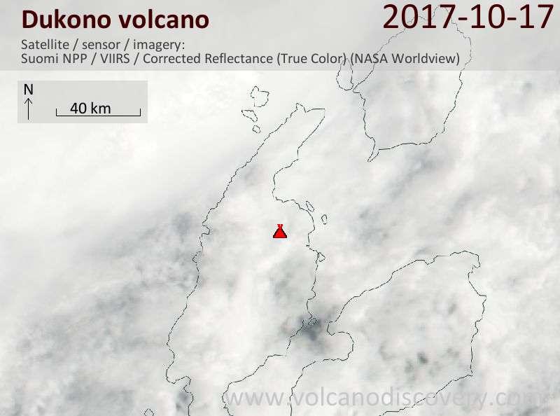 Satellite image of Dukono volcano on 17 Oct 2017