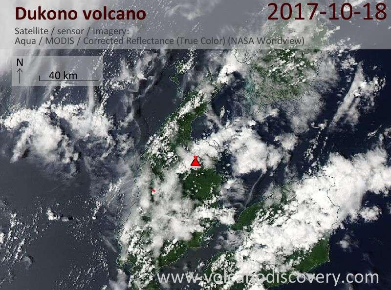 Satellite image of Dukono volcano on 18 Oct 2017