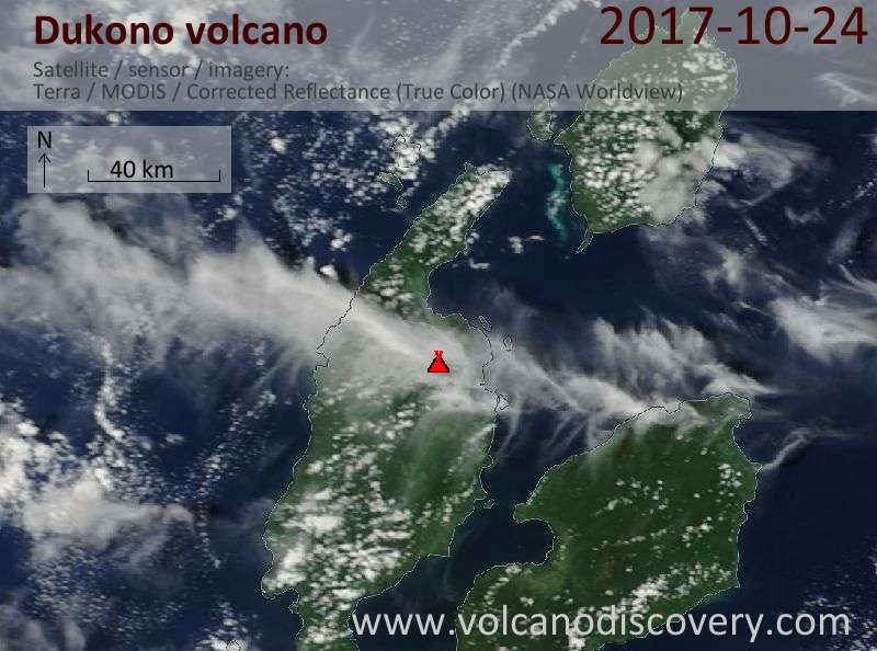 Satellite image of Dukono volcano on 24 Oct 2017