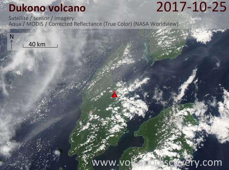 Satellite image of Dukono volcano on 25 Oct 2017