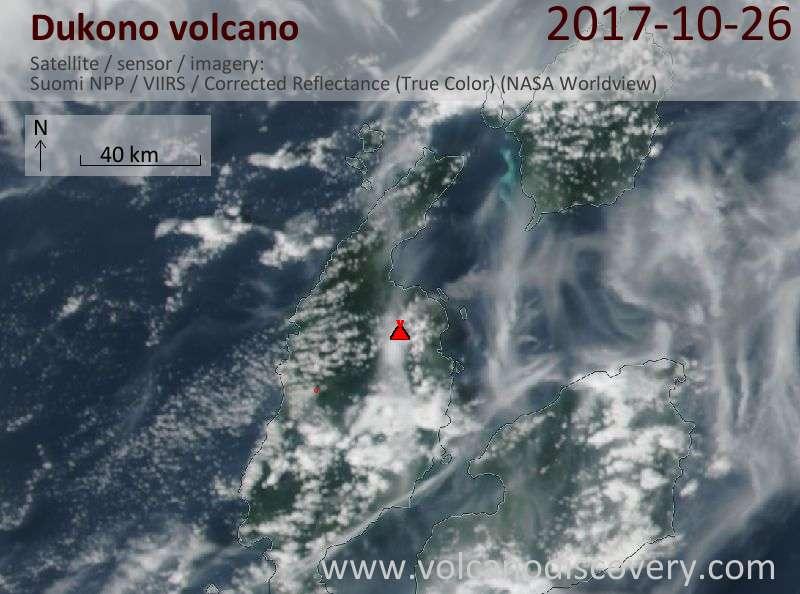 Satellite image of Dukono volcano on 26 Oct 2017