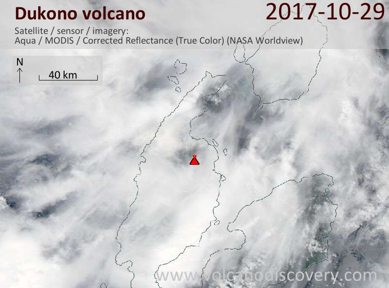 Satellite image of Dukono volcano on 29 Oct 2017