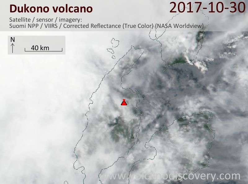 Satellite image of Dukono volcano on 30 Oct 2017