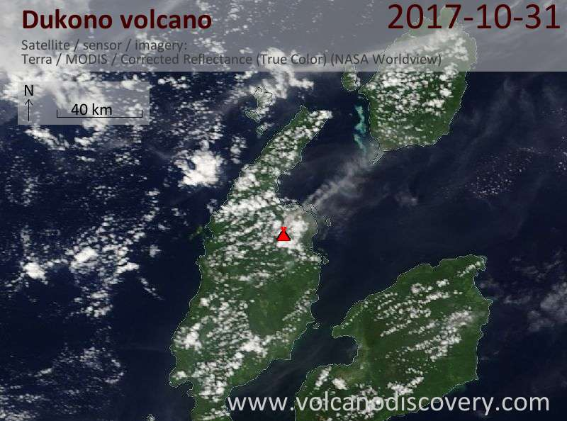 Satellite image of Dukono volcano on 31 Oct 2017