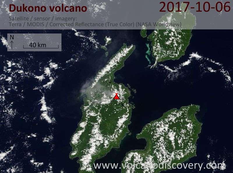 Satellite image of Dukono volcano on  6 Oct 2017