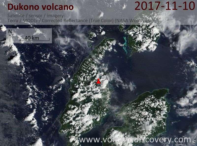 Satellite image of Dukono volcano on 10 Nov 2017