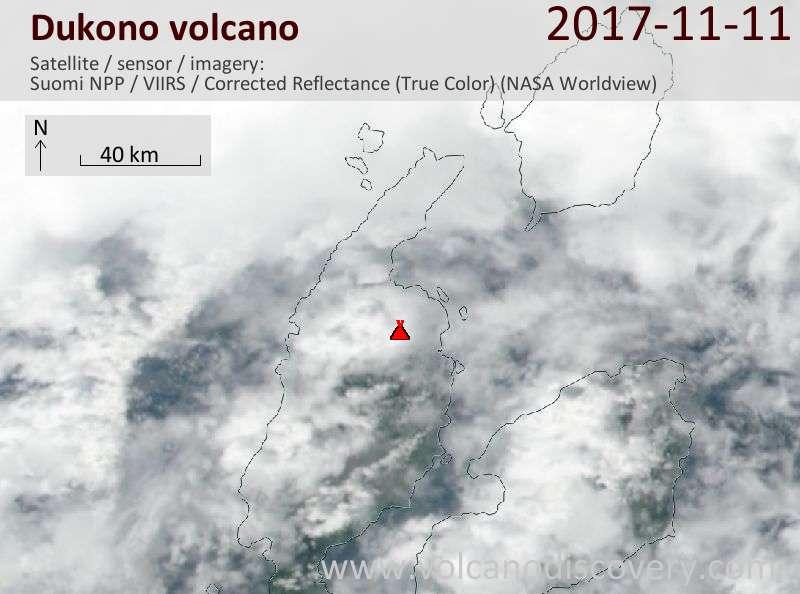 Satellite image of Dukono volcano on 11 Nov 2017