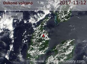 Satellite image of Dukono volcano on 12 Nov 2017