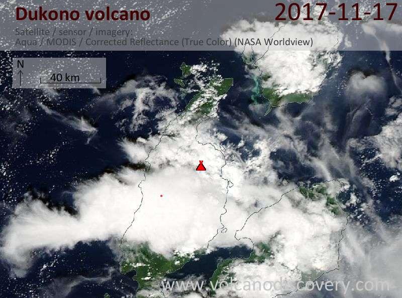 Satellite image of Dukono volcano on 17 Nov 2017