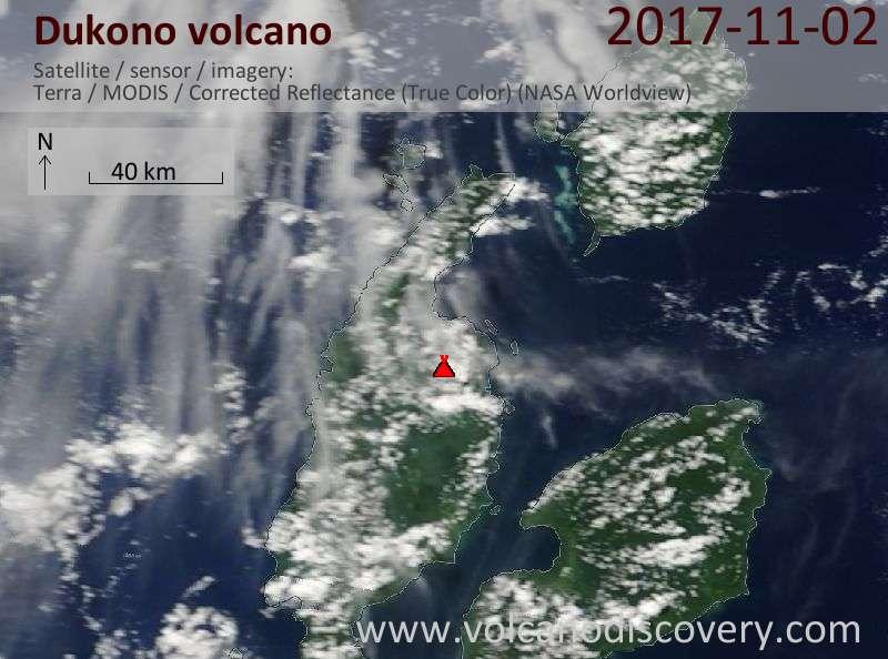 Satellite image of Dukono volcano on  2 Nov 2017