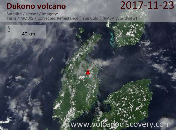Satellite image of Dukono volcano on 23 Nov 2017