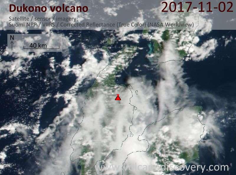 Satellite image of Dukono volcano on  3 Nov 2017