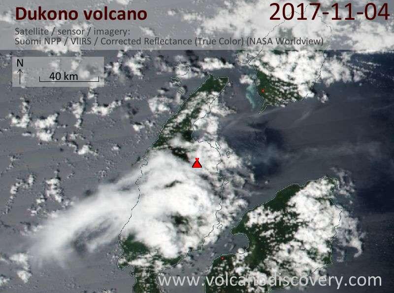 Satellite image of Dukono volcano on  4 Nov 2017