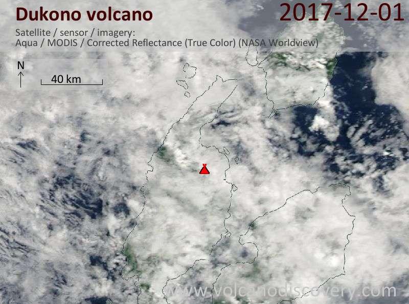 Satellite image of Dukono volcano on  1 Dec 2017