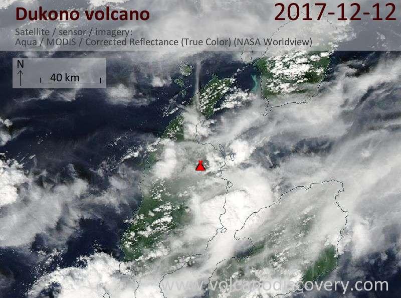 Satellite image of Dukono volcano on 12 Dec 2017