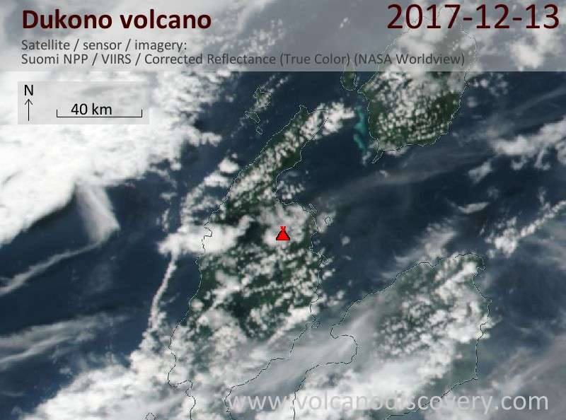 Satellite image of Dukono volcano on 14 Dec 2017