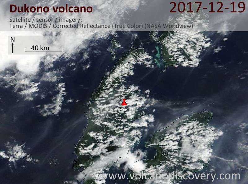 Satellite image of Dukono volcano on 19 Dec 2017