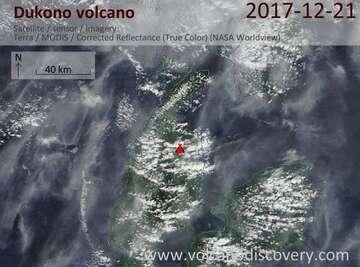 Satellite image of Dukono volcano on 21 Dec 2017