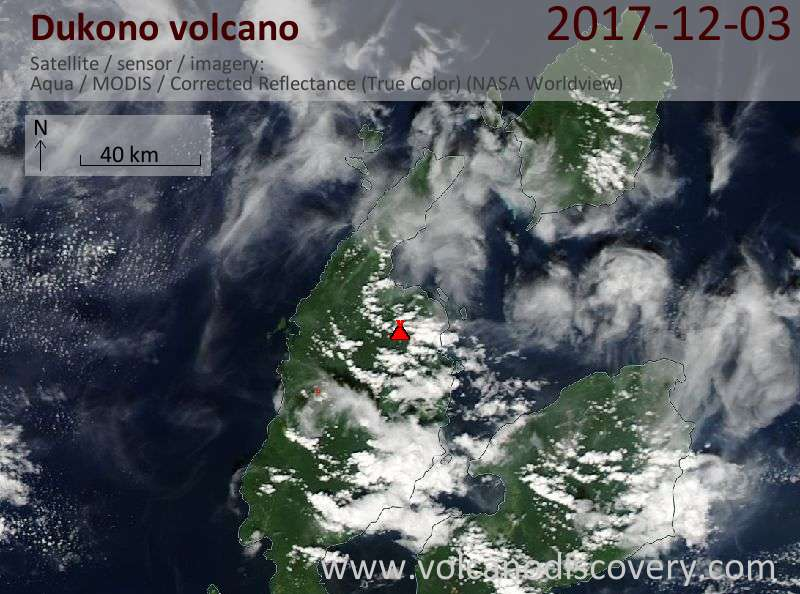 Satellite image of Dukono volcano on  3 Dec 2017