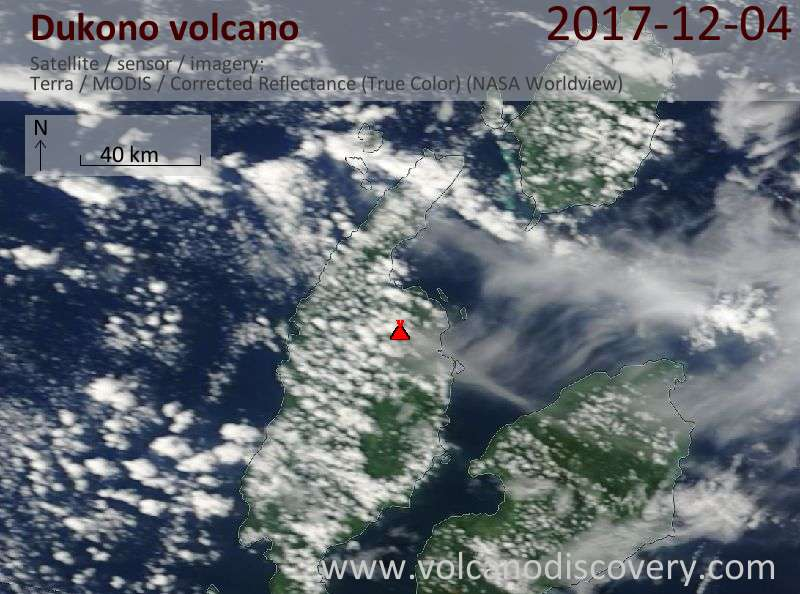 Satellite image of Dukono volcano on  4 Dec 2017