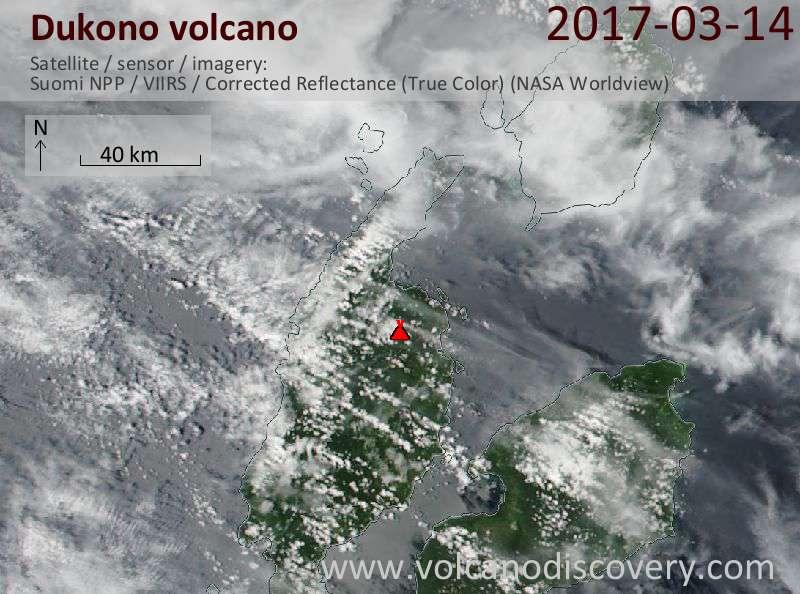 Satellite image of Dukono volcano on 15 Mar 2017